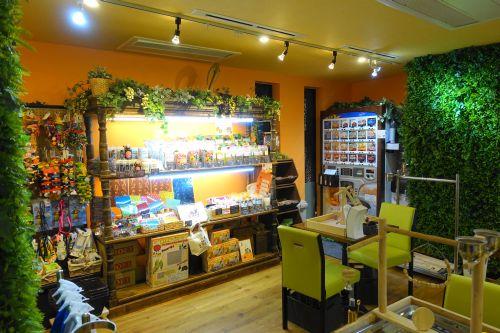 関西のインコカフェ「The Step Up OSAKA」の店内の様子・物販コーナー、自販機