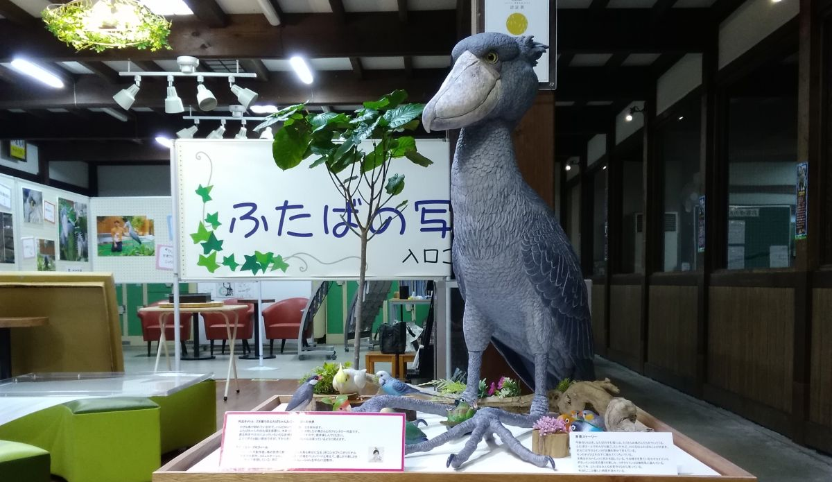 掛川花鳥園で2019年7月20日~8月31日まで展示されている池田はなえ氏のハシビロコウ木彫り作品